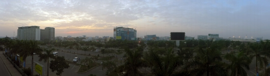 Saigon (aka Ho Chi Minh City) at 7 a.m., as seen from the second floor of the Tan Son Nhat International Airport.