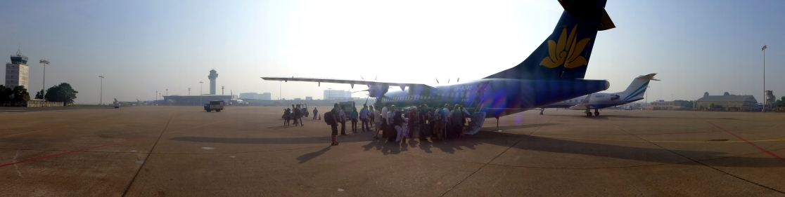 At the Saigon airport we took a minibus out onto the tarmac and boarded our plane to the Con Dao islands the old-fashioned way. Not gonna lie: my first first time on a propeller-powered plane and I was a little leery.