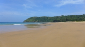 Less than 1,000 yards from the airport was one of the most pristine and secluded beaches I've ever seen. A few shacks served up beer, coconuts, surprisingly good fare.