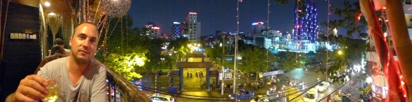 A view of Saigon from the second floor. We tried to get into a fancy rooftop bar, but our sandals and shorts weren't up to dress code snuff.